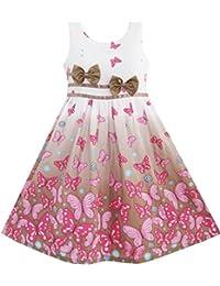 Mädchen Kleid Braun Schmetterling Doppelklicken Bogen Binden Party