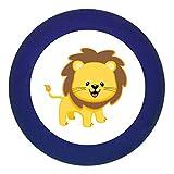 """Traum Kind Türknauf Möbelknopf Möbelknauf Möbelgriff Massivholz Buche - Kinder Kinderzimmer wilde Tiere Zootiere Dschungeltiere """"Löwe"""" - 35x30 mm dunkelblau"""