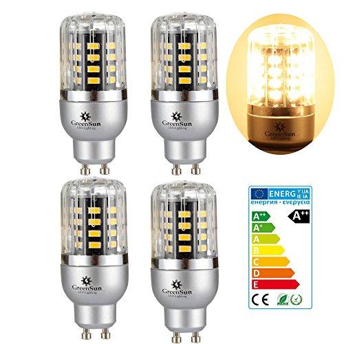 4×GreenSun 3W GU10 LED Energiespar Mais Birnen SMD 5736 Hochleistungs Lampen warmes Weiß Wechselstrom 85-265V 20W Glühlampe Equivalent