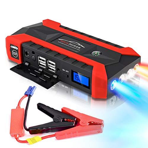 e - 600A Peak 20000mAh, 12V Auto Battery Booster (bis zu 8.0L Gas, 5.0L-Dieselmotor), tragbares Netzteil mit intelligenten Jumper-Kabeln, Schnellladung, LCD-Bildschirm und Kompass ()