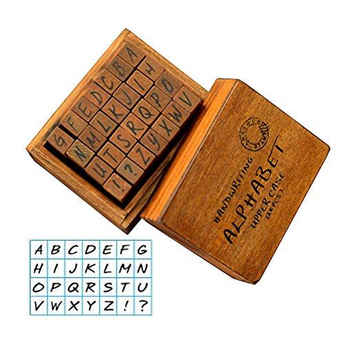gossipboy Vintage Holz Gummi Stempel Buchstaben Alphabet für Heimwerker Craft Karte machen Happy Planer Scrapbooking Supplies Reisenden Fachzeitschriften UPPER CASE HANDWRITING (Tag Datum-stempel)
