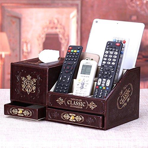 Remote Storage (MMM Universal Remote Cosmetic Box Drawer Storage Box mit einem Tissue Box kreativ Retro ( Farbe : Braun ))