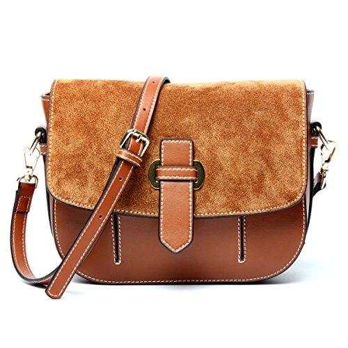 1eb966961ed9e Echtes Leder Matte Vintage Satteltasche Einzelne Schulter-Umhängetasche  Tasche Für Frauen Caramel
