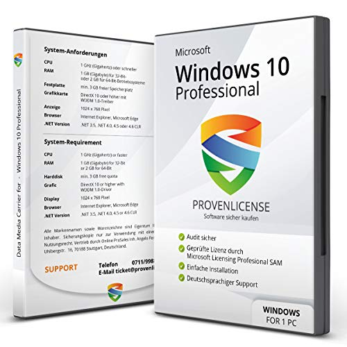 Microsoft® Windows 10 Professional - ProvenLicense 32/64 bit ISO DVD + Lizenz Key per E-Mail - inkl. aller aktuellen Updates - Deutsch