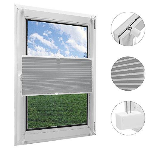 OBdeco Plissee Rollo Klemmfix ohner Bohren Faltrollo für Fenster Blickdicht Sonnenschutz Easyfix Gray 100x130cm