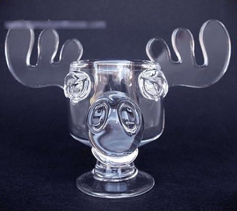 Original Elchglas Canadian Moose Mug Kanada vom Original Künstler handgemacht aus Schöne Bescherung National Lampoons Christmas Vacation schweres Glas aus einem Guß inklusive offizieller Weihnachtsmütze aus dem (Weihnachts-national Lampoon)