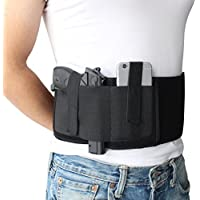 NIANPU Black Elastic Belly Band Gun Holster for Conceled Carry, Left or Right Hand Draw, with Magazine Pocket & 2 Elastic Straps for Gun Smith and Wesson Bodyguard, Glock 19, 17, 42, 43, P238, Ruger LCP, and Similar Sized Guns | For Men and Women