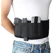 NIANPU Funda de pistola de banda de vientre elástico negro para el dibujo de mano derecha o izquierda, con bolsillo de revista y 2 correas elásticas para Gun Smith y Wesson Bodyguard, Glock 19, 17, 42, 43, P238, Ruger LCP,y armas de tamaño similar | Para hombres y mujeres
