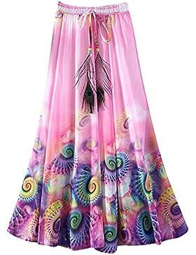 OuYou Mujer Faldas Largas Verano Playa Elegantes Vintage Boho Impresa Cintura Alta Gasa Falda Maxi Plisada Ropa...