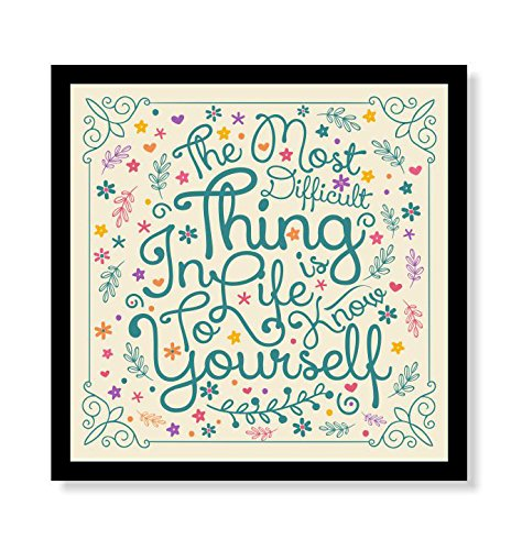 lab-no-4-the-most-difficult-thing-thales-of-miletus-inspirational-quote-framed-poster