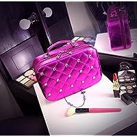 Borse personalizzate Cosmetic Bag High - End Cosmetics caso cosmetico di sicurezza del pacchetto del sacchetto di bellezza di viaggio portatile con lo specchio pratico ( colore : Rose red , dimensioni : S. )