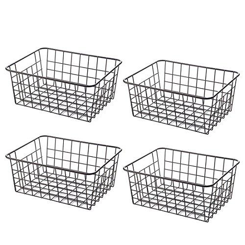 ZUJI 4PCs Aufbewahrungskorb Metall Metallkörbe Drahtkorb Küchenkorb Regalkörbe mit Griffen für Küche Schlafzimmer Bad Büro