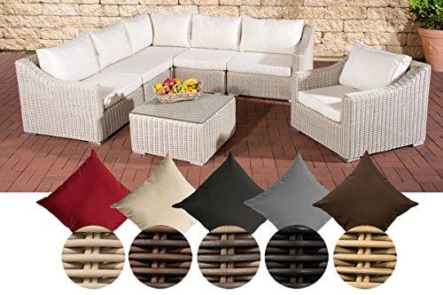 CLP Gartengarnitur DEL MAR | Sitzgruppe mit 6 Sitzplätzen | Gartenmöbel-Set aus Polyrattan | In verschiedenen Farben erhältlich Rattan Farbe braun-meliert, Bezugfarbe: Terrabraun