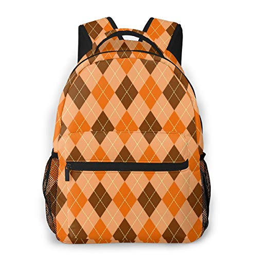 GLPYHOO Orange and Brown Buffalo Plaid Fashion Casual Shoulder Bags Lightweight Laptop Backpacks Rucksack - for College,Travel,Sports -