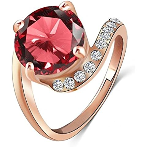 AieniD Joyas de Moda Anillo Compromiso de Mujer Sortija de Oro con Rubí Rojo Diamante de