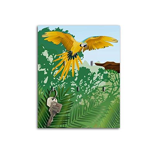 Plaque à clés avec crochets Design Board Clé Perroquet jaune sb651