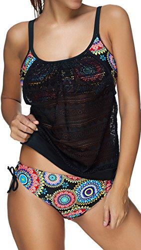 EUDOLAH Damen Padded Bikini-Set Streifen zweiteilig Swimwear Beachwear (EU 40/ Large, A-Sonnenblume)