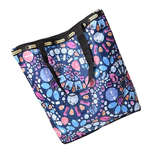 JERFER Blumen gedruckte Segeltuch Einkaufstaschen Große Kapazitäts Segeltuch Strand Tasche M