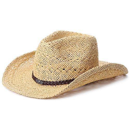 (SIGGI Unisex Cowboy Stroh Hüte Formbare Krempe mit Kinnriemen beige)