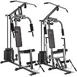 TecTake Kraftstation Fitnessstation Heimtrainer | Butterflymodul | Latzugstange | 8x4,5 kg | Beinstreckervorrichtung - verschiedene Modelle