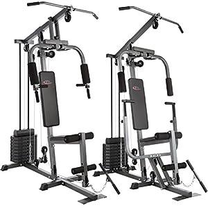 TecTake Kraftstation Fitnessstation Heimtrainer | Butterflymodul | Latzugstange | 8×4,5 kg | Beinstreckervorrichtung – Verschiedene Modelle
