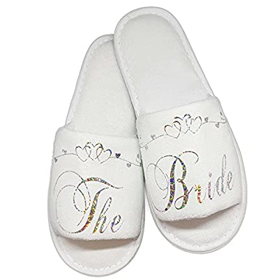 Bride Bridesmaid Slippers Bridal Guest Wedding & Hen Night Guest Role Sparkling Silver and Heart Scroll