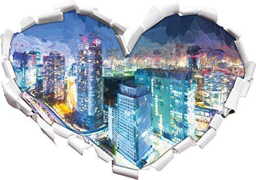 Moderne Architektur in der Innenstadt von Tokio Kunst Pinsel Effekt Herzform im 3D-Look , Wand- oder Türaufkleber Format: 62x43.5cm, Wandsticker, Wandtattoo, Wanddekoration