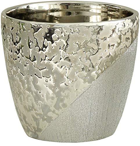 Dreamlight Wunderschöner Übertopf Pflanzengefäß für Blumen aus Keramik Champagner-Silber 11x11x10 cm