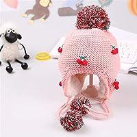 ETMAAA Kinder handgemachte Kirsche Ohrenschützer Wolle Caps Säugling Stricken warme Hüte