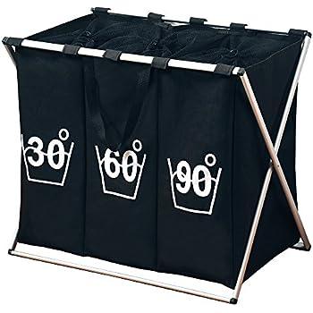 w schesammler 3 f cher wei w schesortierer w schekorb w schesack faltbar k che. Black Bedroom Furniture Sets. Home Design Ideas