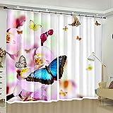 ZZHL Rideau, Tapisserie Murale S Crochet Anneau en Plastique Abat-Jour Isolation Thermique Paysage Chambre Cuisine Salon Papillon Rideaux Intérieurs (Taille : 1.8x2.7m)