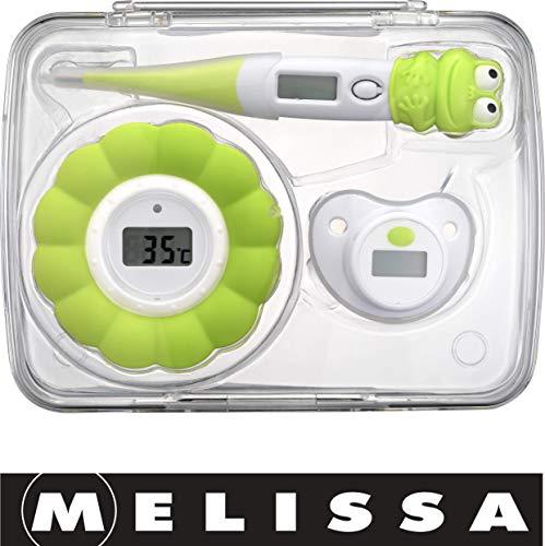 Melissa 16690070 Thermomètre pour bébé avec tétine et thermomètre pour eau de bain Vert
