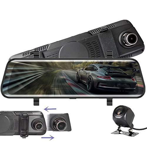 """Dashcam,VISGOGO Autokamera 10\"""" Zoll Touch Screen Dashcam Rückspiegel Full HD 1080P Weitwinkel Frontkamera und 720P Rückfahrkamera mit Nachtsicht, Parkplatz-Überwachung,Bewegungserkennung,GPS,G-Sensor"""