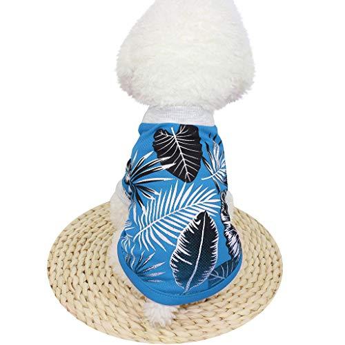Sommer-Hundet-Shirt-Haustier-Kleidungs-Kleidungs-Breathable Blattdruck Kurzarm-Kostüme ()