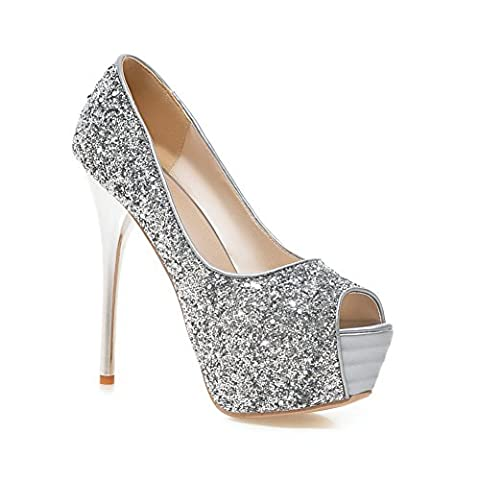 1TO9 Ladies Sequins High-Heels Dress Silver Polyurethane Pumps Shoes 4 UK