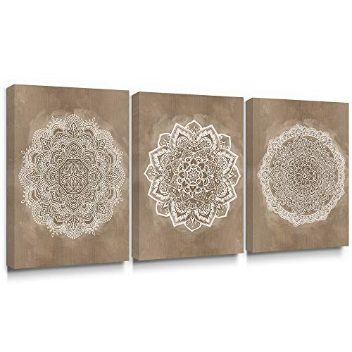 SUMGAR Mandala Wall Art Prints on Canvas Gold Boho Decorations for Bedroom, marrón, 30 x 40 cm x 3 Piezas