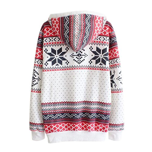 Femmes Sweat-shirt, Morwind Vintage Floral Vent National Manches Longues Pull Capuche Outwear Blanc