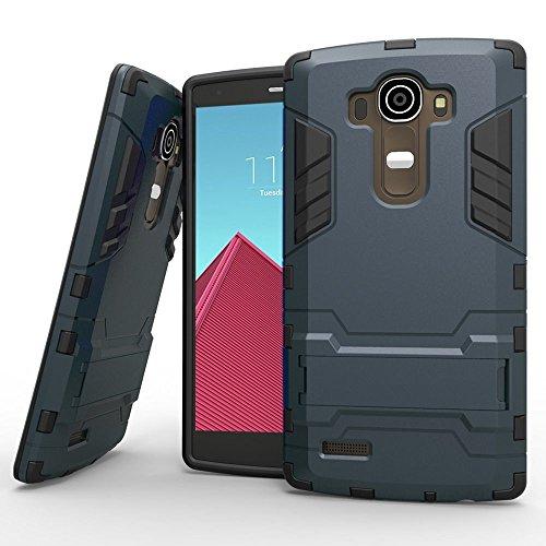 Hülle für LG G4 (5,5 Zoll) 2 in 1 Hybrid Dual Layer Shell Armor Schutzhülle mit Standfunktion Case (Blau Schwarz)