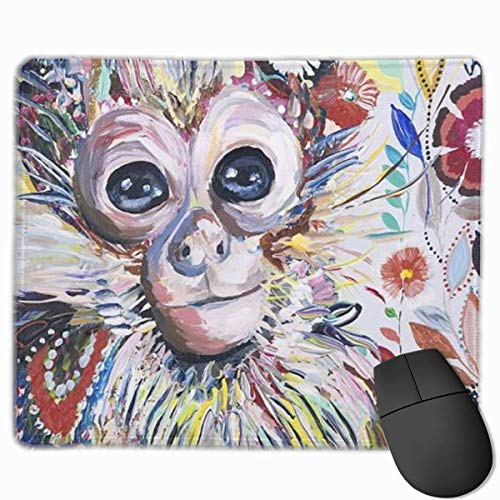Colorful Animal Monkey Personalized Design Mauspad Gaming Mauspad with Stitched Edges Mousepads, Non-Slip Rubber Base, 300 x 250 x 3 mm Thick - Best Gift Idea (Designs Monkey Red)