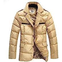 E-Artist cuello de traje corto de chaqueta de plumón de pato de grosor perchero de cálido Slim Smart Business Casual para exteriores para hombre color marrón Y05