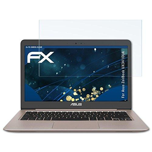 atFolix Schutzfolie kompatibel mit Asus ZenBook UX3410UA Panzerfolie, ultraklare und stoßdämpfende FX Folie (2X)