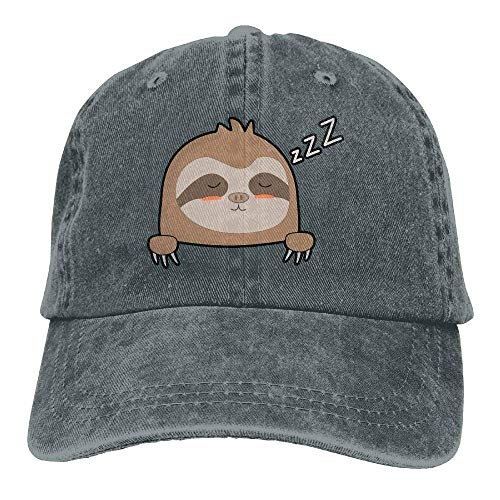 Denim Fabric Baseball Cap Sleeping Pocket Sloth Snapback Cap ()