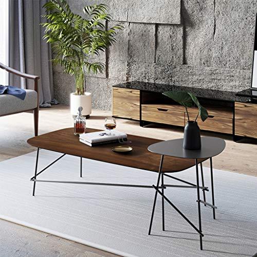 Table basse industrielle noire, ensemble de 2, panneaux de salon en bois et pieds en fer