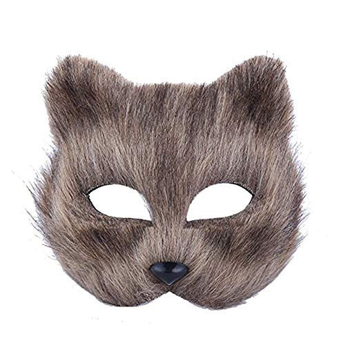 JingHeYongKeJi Karneval-Partei-Maskerade-Masken-Make-Up-Tanz-Maske Tier Half Face Anzeigen Props Halloween Langhaarig Gray Fox Prom ()