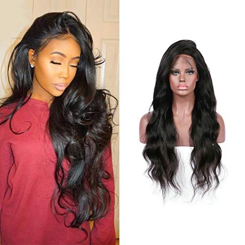 Perruque pour Femme Longue, Solike Cheveux Longues Bouclés Perruques Cheveux Ondulés Cheveux Avec Lace devant Perruque Noir Cosplay (22 Pouces, Noir)