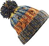 Neverless® Strickmütze Herren Grobstrick Bunt Bommel Bunt Winter-Mütze orange Unisize