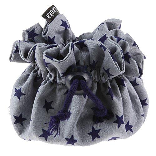 Louka Pochette pour tétine avec attache mousqueton pour bébé garçon et fille Motif étoilé Gris/bleu