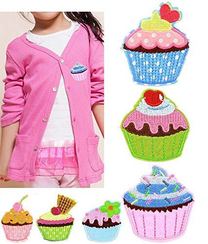 Mackur Cupcake Form Patch Set 4.7 * 6.0cm EIS Kuchen für Kinder T-Shirt Jacken Stickerei Applikationen Aufnäher von Dessert Form Zufällige Farbe 6 Stück -