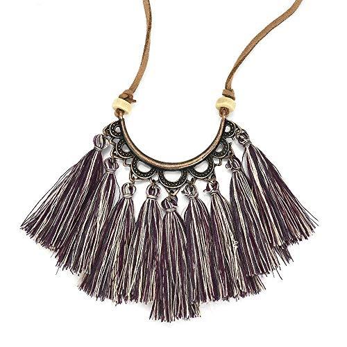 (TINGGSU Halskette, Quasten-Halskette für Damen, Modeschmuck, Leder-Kette, Seidenstoff, Boho-Choker (lila))
