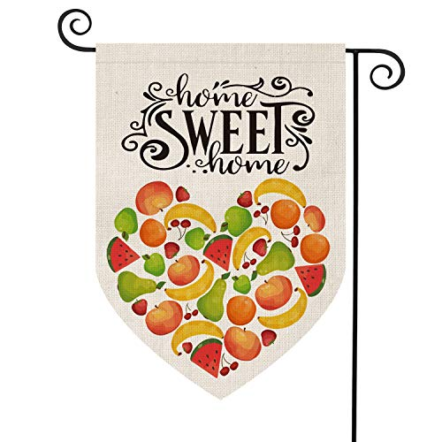 AVOIN Summer Fruit Love Heart Garden Flag Vertikal doppelseitig Seasonal Watermelon Erdbeere Banane Apfel Kirsche Birne Rustic Farmhouse Jutehof Outdoor Dekoration 31,5x45,7 cm -